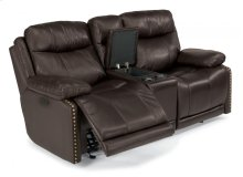 Russell Leather Power Gliding Reclining Loveseat with Console and Power Headrests