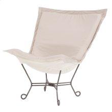 Scroll Puff Chair Seascape Sand Titanium Frame