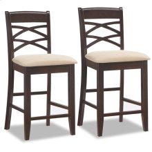 Wood Double Crossback Counter Height Stool w/Beige Microfiber Seat #10084WG/BG - Set of 2