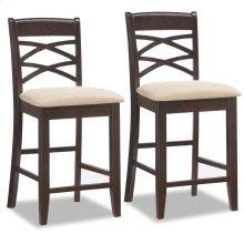 Wood Double Crossback Counter Height Stool w/Beige Microfiber Seat #10084WG/BG - Set of 2