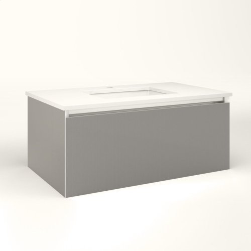 """Cartesian 36-1/8"""" X 15"""" X 21-3/4"""" Single Drawer Vanity In Silver Screen With Slow-close Full Drawer and No Night Light"""
