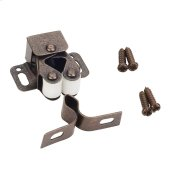 Dark Brushed Antique Copper Double Roller Catch with Strike and Screws