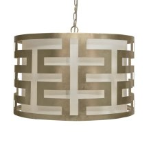 Silver Leafed Greek Key Pendant With Interior Shade and Diffuser. Uses Three 40w Candelabra Base Bulbs. 3' Matching Chain Included.