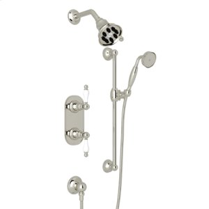 Polished Nickel Arcana Thermostatic Shower Package with Arcana Ornate Metal Lever