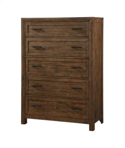 5 Drawer Chest-burnished Pine Finish Product Image