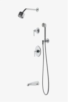 """Transit Pressure Balance Shower Package with 3 1/4"""" Shower Head, Handshower, Tub Spout and Diverter Lever Handle STYLE: TRSP24"""