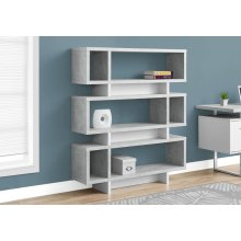 "BOOKCASE - 55""H / WHITE / CEMENT-LOOK MODERN STYLE"