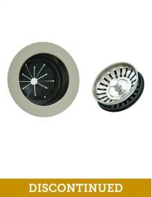 EZ Mount Metal Disposer Flange with Matching Strainer/Stopper Basket - Brushed Nickel