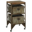 Rusted Wash Galvanized Two Drawer Cart. Product Image