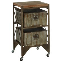 Rusted Wash Galvanized Two Drawer Cart.