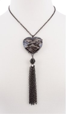BTQ Black Lace Heart Tassle Necklace