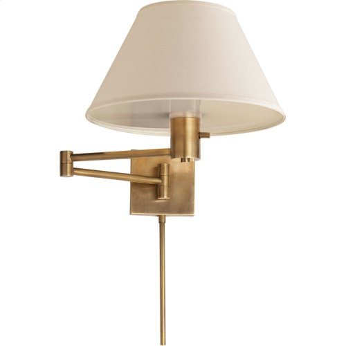 Visual Comfort 92000DHAB-L Studio Classic 25 inch 75 watt Hand-Rubbed Antique Brass Swing-Arm Wall Light in Linen