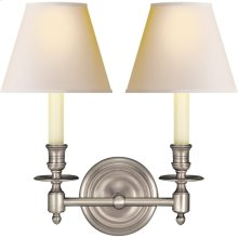 Visual Comfort S2112AN-NP Studio French Library 2 Light 13 inch Antique Nickel Decorative Wall Light in Natural Paper