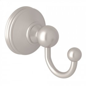 Satin Nickel Perrin & Rowe Georgian Era Wall Mount Single Robe Hook