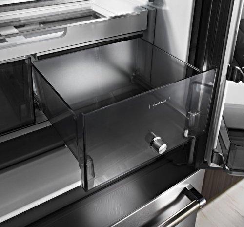 "23.8 cu. ft. 36"" Counter-Depth French Door Platinum Interior Refrigerator - Black Stainless"