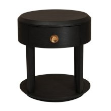 Modern Minimalist 1 Drawer Nightstand in Tuxedo Black