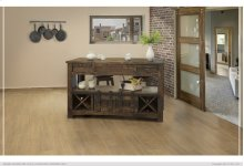 Kitchen Island w/ 3 Drawers, 2 Doors & 8 Bottle Holder Shelves