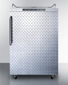 Freestanding Residential Outdoor Beer Dispenser, Auto Defrost With Digital Thermostat, Diamond Plate Door, Stainless Steel Wrapped Cabinet, and Towel Bar Handle; Sold Without Tap Kit for Do-it-yourselfers Who Install Their Own Systems