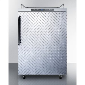 SummitFreestanding Residential Outdoor Beer Dispenser, Auto Defrost With Digital Thermostat, Diamond Plate Door, Stainless Steel Wrapped Cabinet, and Towel Bar Handle; Sold Without Tap Kit for Do-it-yourselfers Who Install Their Own Systems