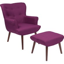 Bayton Upholstered Wingback Chair with Ottoman in Purple Fabric