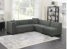 3pc Set-2 Lsf Loveseats-1 Armless Chair W/2 Pillows-gray Cinder #zw7381-5