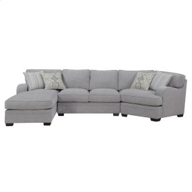 3pc Lsf Chaise-armless Love-rsf Corner Chair W/4 Accent Pillows-lt Gray#zy50474d-3