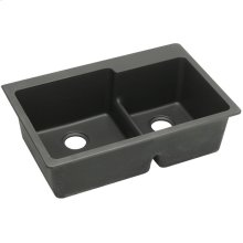 "Elkay Quartz Classic 33"" x 22"" x 9-1/2"", Offset 60/40 Double Bowl Drop-in Sink with Aqua Divide, Black"