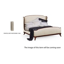 Cali King Louis XV Grey Weathered Bed, Upholstered in Chalk Silk
