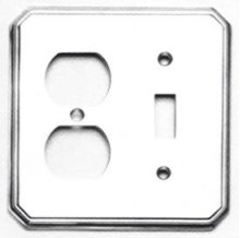 Combination Traditional Switchplate - Solid Brass in SB (Shaded Bronze, Lacquered)
