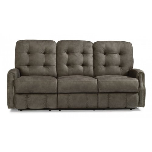 Devon Fabric Power Reclining Sofa with Power Headrests and Nailhead Trim