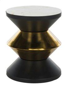 Azizi Stone Top Side Table - White Stone / Black / Gold