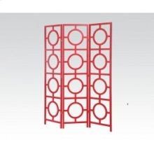 Red 3-panel Wooden Screen