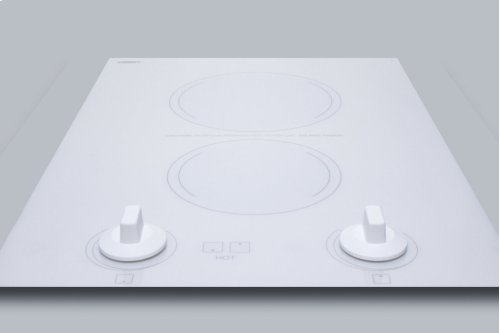 """15"""" Wide 230v 2-burner Radiant Cooktop Made In France With White Ceramic Glass Surface and Sized for 12 3/8"""" W X 19 3/8"""" D Cutouts"""