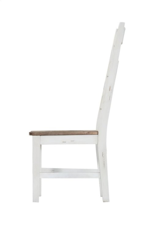 Emerald Home Abaco Ladderback Side Chair-country White W/brown Wood Seat