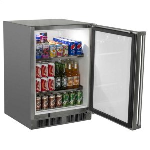 "Marvel24"" Marvel Outdoor Refrigerator - Solid Stainless Steel Door with Lock - Right Hinge"