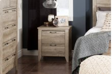 2-Drawer Nightstand - End Table with Storage - Weathered Oak