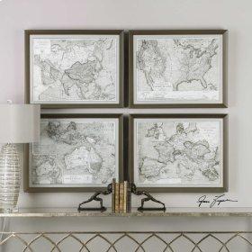 World Maps Framed Prints, S/4