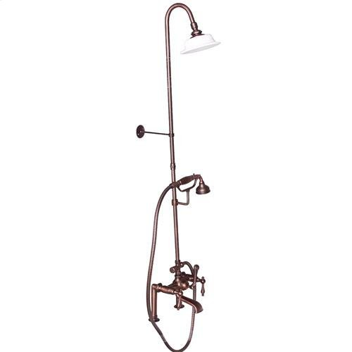 Tub Filler with Diverter Hand-Held Shower and Riser - Lever with Finials / Oil Rubbed Bronze