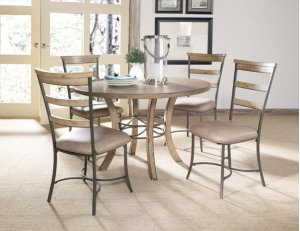Charleston 5pc Round Dining With Ladderback Chairs- All Wood Table With Metal Ring