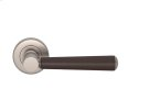 Tube Stitch Incombination Leather Door Lever In Chocolate And Satin Nickel Product Image