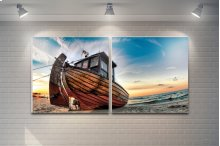 "3 Pieces Printed Art ""fishing Boat"" Composition"