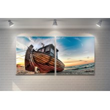"""3 Pieces Printed Art """"fishing Boat"""" Composition"""