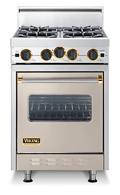 "24"" Classic Open Burner Range, Propane Gas, Brass Accent"