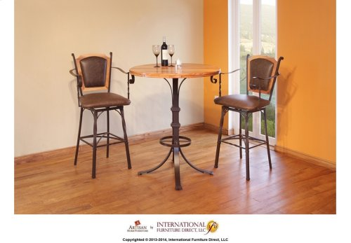 "30"" Swivel Barstool w/Arms & Bonded Leather Seat & back"