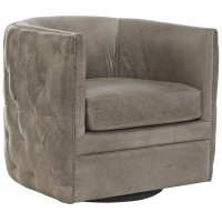 Palazzo Leather Swivel Chair in #44 Antique Nickel Product Image