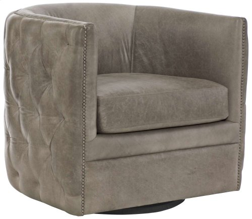 Palazzo Leather Swivel Chair in #44 Antique Nickel