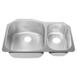 American StandardPrevoir Stainless Steel 31-1/2 Inch by 20-5/8 Inch 2-Bowl Combo Kitchen Sink - Brushed Stainless Steel