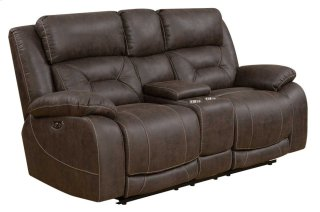 Aria Power Headrest Reclining Console Loveseat, Saddle Brown