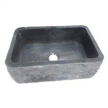 "Birgitta Single Bowl Granite Farmer Sink - Polished Black / 36"""