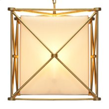 """Gold Leaf Iron """"x"""" Square Pendant With White Linen Inner Shade and Diffuser."""